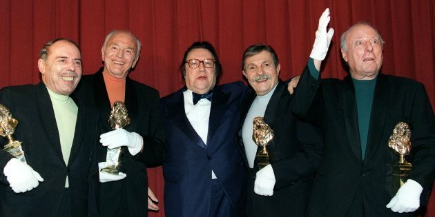 De gauche à droite: Georges Bellec, François Soubeyran, Raymond Devos Paul Tourenne et et André