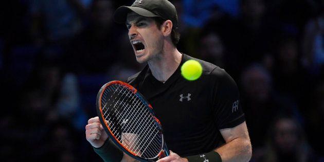 Andy Murray à l'O2 Arena de Londres pour le Masters, le 20 novembre