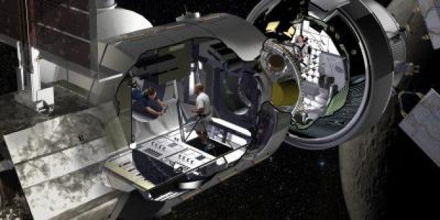 La vision du module d'habitation de Boeing, relié à la capsule Orion de la Nasa, qui permettrait d'acheminer...