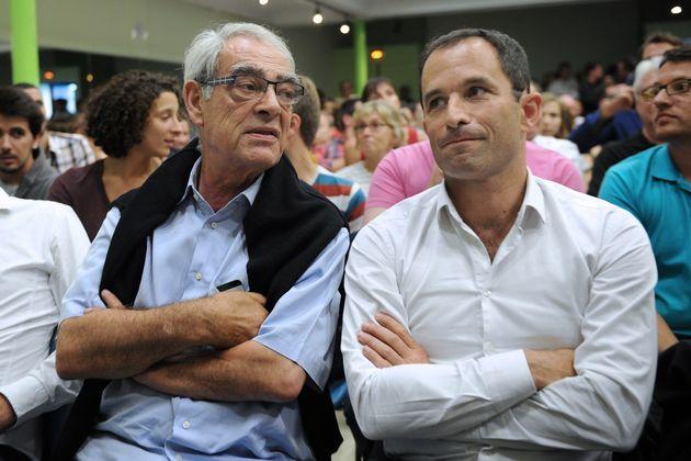 Henri Emmanuelli et Benoît Hamon à l'université d'été du PS à La Rochelle, en août