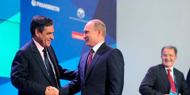 François Fillon et Vladimir Poutine en Russie en
