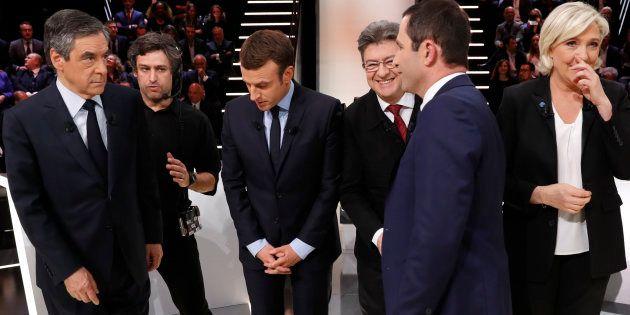 (De gauche à droite) François Fillon, Emmanuel Macron, Jean-Luc Mélenchon, Marine Le Pen et Benoît Hamon...