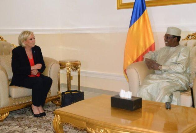 Marine Le Pen et Idriss Déby lors de leur entretien à N'Djamena le 21 mars