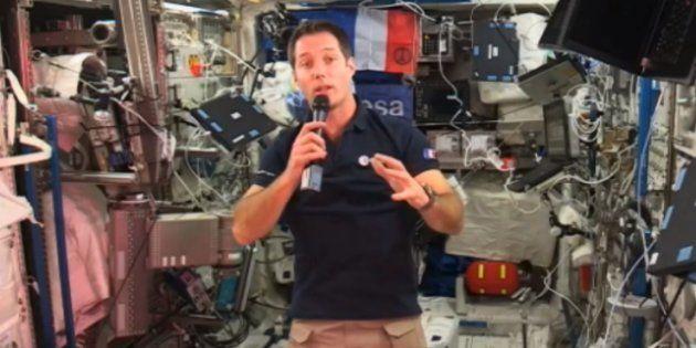 Thomas Pesquet, dans le laboratoire Columbus de la Station spatiale