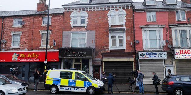 Un véhicule de police stationné à Birmingham après l'opération en lien avec l'attentat de