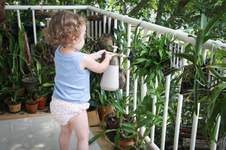 Watering my orchid collection, on Lamma Island.