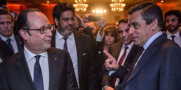 François Hollande et François Fillon au dîner du Crif le 22