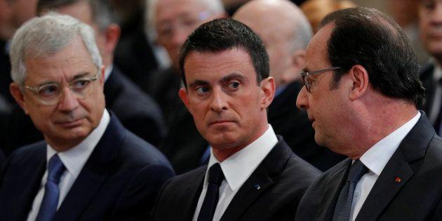 Claude Bartolone en compagnie de Manuel Valls et François Hollande aux obsèques de Michel Rocard au mois...