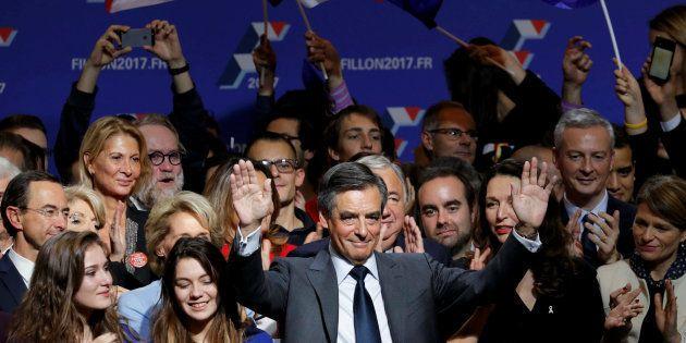 Francois Fillon, à son QG de campagne après la victoire à la