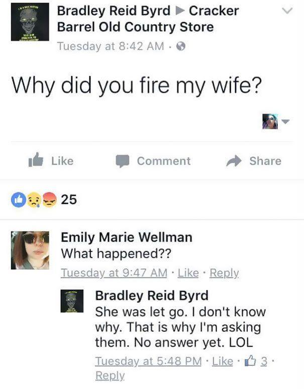 Il demande sur Facebook pourquoi sa femme a été virée, la situation devient hors de