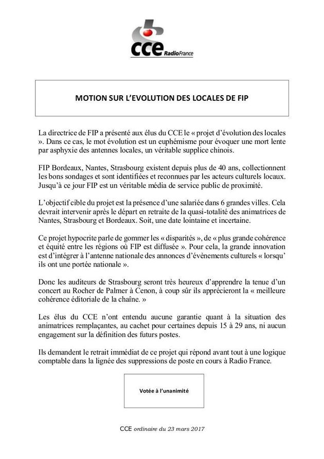 Radio France: les locales de Fip encore dans la