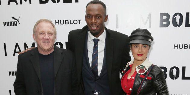 Usain Bolt accompagné de Francois-Henri Pinault et de Salma Hayek pour la première mondiale du