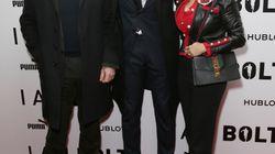 Salma Hayek, Robert Pirès et Olivier Giroud à la première du docu sur Usain