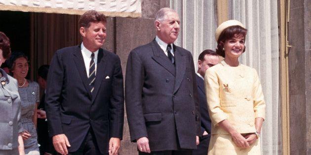 Les Kennedy avec le Général de Gaulle au Palais de l'Elysée, le 31 mai