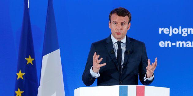 Emmanuel Macron ce mardi 28 mars pendant sa conférence de