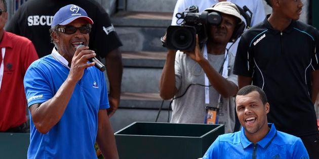 Yannick Noah et Jo-Wilfried Tsonga lors de France-Canada en Coupe Davis le 6 mars