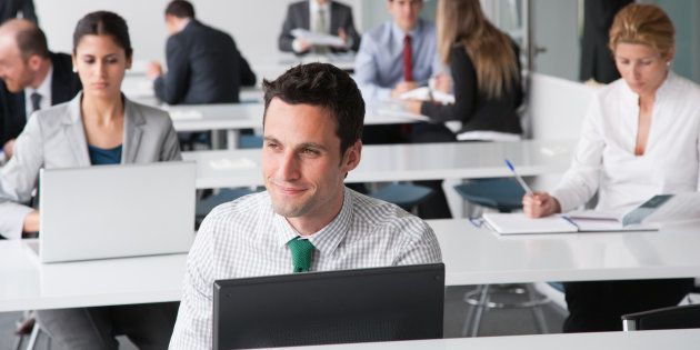 Businesspeople working in corporate training