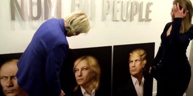 Marine Le Pen a reçu son triptyque avec Poutine et Trump des mains de sa fan