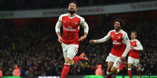 Olivier Giroud après son but inscrit face à Crystal Palace sur la pelouse de l'Emirates