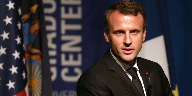 Emmanuel Macron aux Etats-Unis lors de la présentation d'un fond de soutien aux programmes bilingues