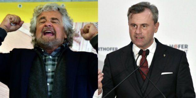 Beppe Grillo, leader du Mouvement cinq étoiles en Italie, et Norbert Hofer, candidat du FPÖ en
