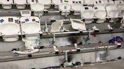 Des supporters du PSG dégradent le Parc OL pendant la