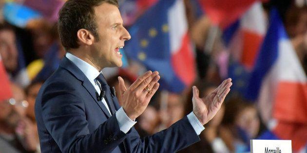Emmanuel Macron, candidat à l'élection présidentielle et leader du mouvement En Marche!, lors d'un meeting...