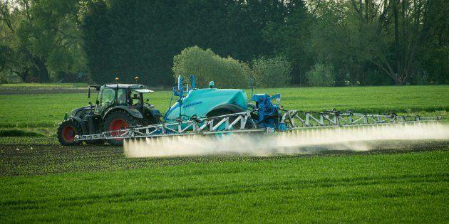 Un agriculteur répand des pesticides à Fromelles près de Lille, le 9 mai