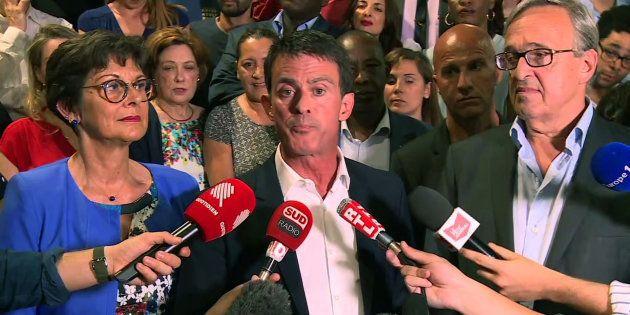 Manuel Valls après la proclamation de sa victoire aux législatives à la mairie