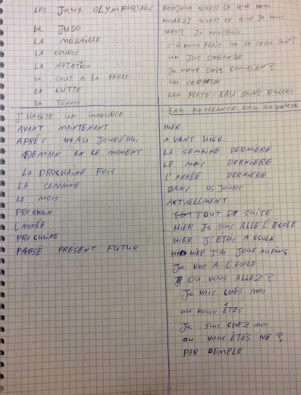 Cahier d'écriture d'un étudiant, analphabète au départ.