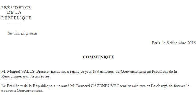Bernard Cazeneuve nommé premier ministre après la démission de Manuel