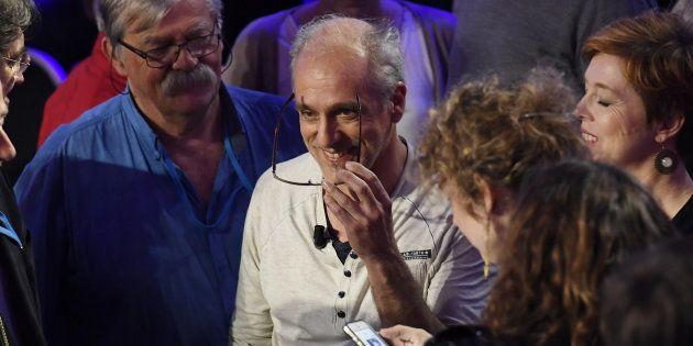 Philippe Poutou, candidat à la présidentielle pour le NPA (Nouveau Parti anticapitaliste), lors du débat...