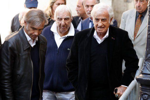 Jean-Paul Belmondo (à droite), son fils Paul Belmondo (à gauche), et l'acteur Charles Gérard (au