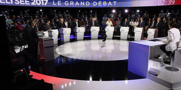 Les 11 candidats lors du débat du 4 avril sur CNEWS et