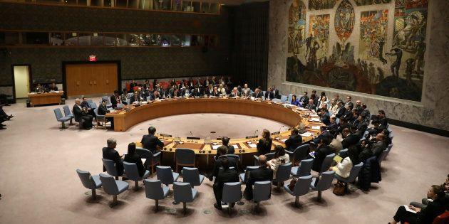 Le Conseil de sécurité de l'ONU réuni à New York le 5 avril