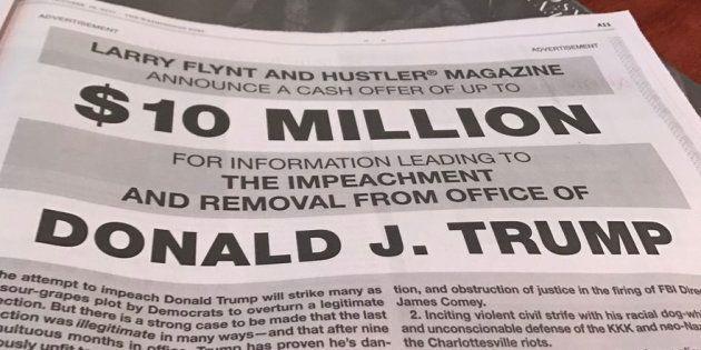 Le roi du porno Larry Flynt offre 10 millions de dollars à qui permettra de destituer