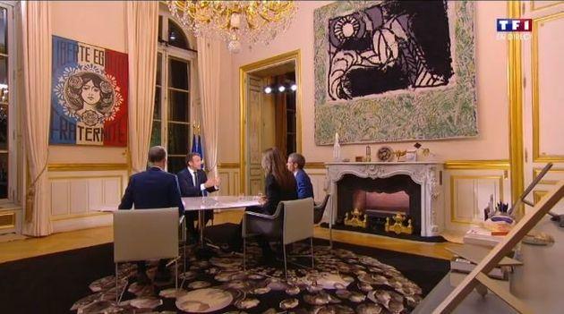 Emmanuel Macron sur TF1: mais quel est ce tableau de Marianne derrière le président à