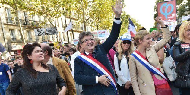 Raquel Garrido et Jean-Luc Mélenchon à Paris le 23 septembre