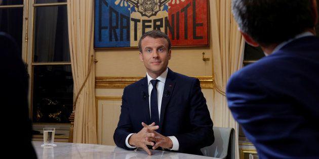 Le Président Emmanuel Macron juste avant