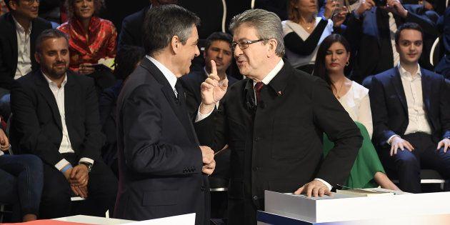 François Fillon et Jean-Luc Mélenchon durant le débat télévisé à onze diffusé sur BFMTV et