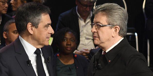 François Fillon et Jean-Luc Mélenchon lors du débat organisé par BFMTV et CNews le 4