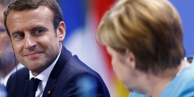 Le Président Emmanuel Macron et la Chancelière Angela Merkel le 29 juin 2017 à