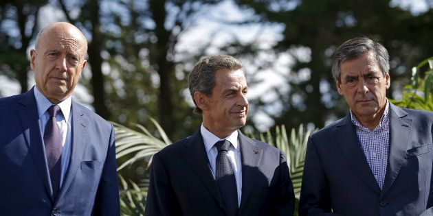 Alain Juppé, Nicolas Sarkozy et François Fillon à l'université d'été des Républicains en décembre