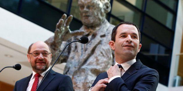 Benoit Hamon et Martin Schulz ensemble à Berlin le 28