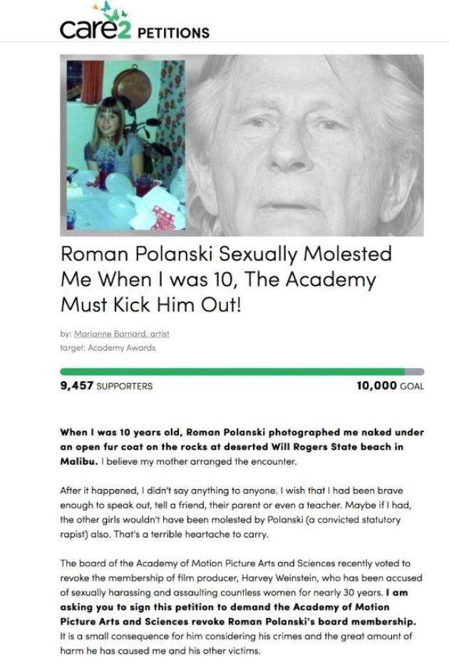 Une cinquième femme accuse Roman Polanski de l'avoir agressée sexuellement, alors qu'elle avait 10