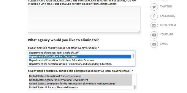 Avec ce site, Trump va laisser les Américains choisir quels ministères