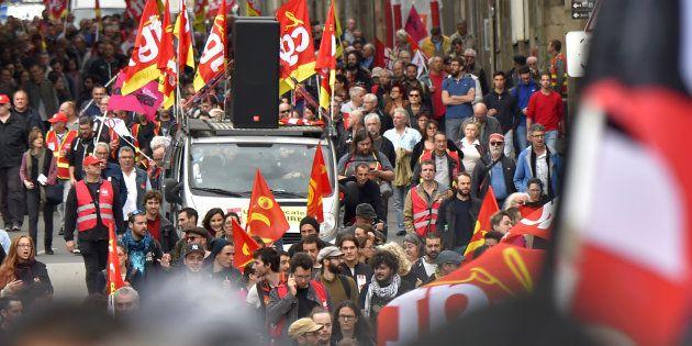 Une manifestation de travailleurs à Nantes le 19 octobre