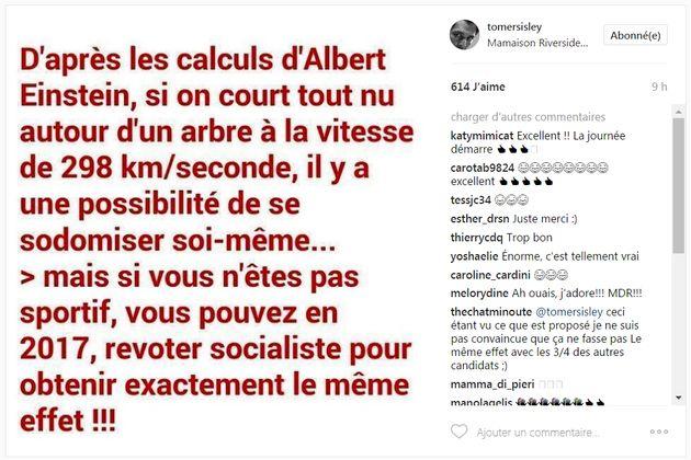 Benoît Hamon ne va pas aimer le dernier post Instagram de Tomer