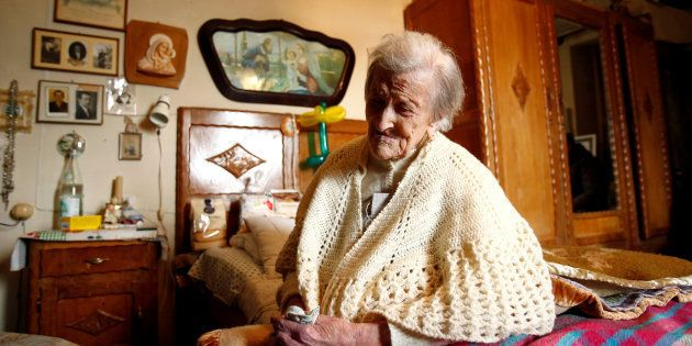 Emma Morano à son domicile de Verbania en Italie le 29 novembre