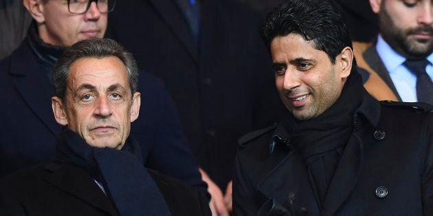 Nicolas Sarkozy et le rpésident du PSG Nasser Al-Khelaifi lors du match PSG-Lille au Parc des Princes...